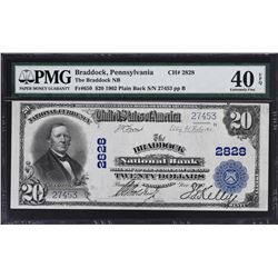 Braddock, Pennsylvania. 1902 $20 Plain Back. Fr. 650. Braddock NB. Charter 2828. PMG Extremely Fine