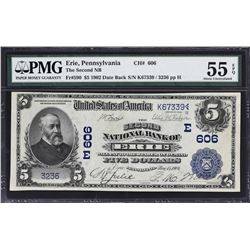 Erie, Pennsylvania. 1902 $5 Date Back. Fr. 590. Second NB. Charter 606. PMG About Uncirculated 55 EP