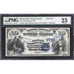 Marienville, Pennsylvania. 1882 $20 Date Back. Fr. 555. Gold Standard NB. Charter 5727. PMG Very Fin