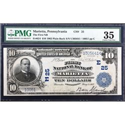 Marietta, Pennsylvania. 1902 $10 Plain Back. Fr. 624. FNB. Charter 25. PMG Choice Very Fine 35.