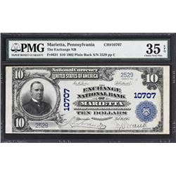 Marietta, Pennsylvania. 1902 $10 Plain Back. Fr. 631. Exchange NB. Charter 10707. PMG Very Fine 35 E