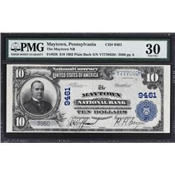 Maytown, Pennsylvania. 1902 $10 Plain Back. Fr. 626. Maytown NB. Charter 9461. PMG Very Fine 30.