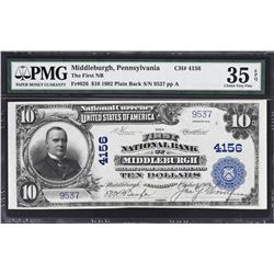 Middleburgh, Pennsylvania. 1902 $10 Plain Back. Fr. 626. FNB. Charter 4156. PMG Very Fine 35 EPQ.