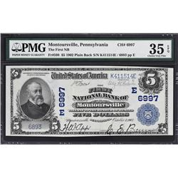Montoursville, Pennsylvania. 1902 $5 Plain Back. Fr. 598. FNB. Charter 6997. PMG Choice Very Fine 35