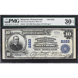 Montrose, Pennsylvania. 1902 $10 Plain Back. Fr. 631. First and Farmers NB & TC. Charter 2223. PMG V