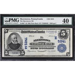 Myerstown, Pennsylvania. 1902 $5 Plain Back. Fr. 607. Myerstown NB. Charter 5241. PMG Extremely Fine