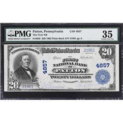 Patton, Pennsylvania. 1902 $20 Plain Back. Fr. 656. FNB. Charter 4857. PMG Choice Very Fine 35.