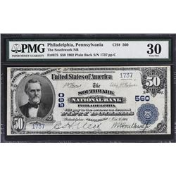 Philadelphia, Pennsylvania. 1902 $50 Plain Back. Fr. 675. Southwark NB. Charter 560. PMG Very Fine 3