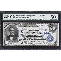 Philadelphia, Pennsylvania. 1902 $50 Date Back. Fr. 669. Market Street NB. Charter 3684. PMG About U