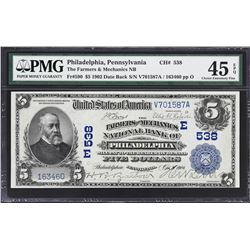 Lot of (3) Philadelphia, Pennsylvania 1902 $5 National Banknotes. PMG Graded.