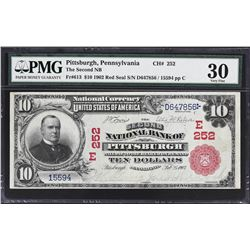 Pittsburgh, Pennsylvania. 1902 $10 Red Seal. Fr. 613. Second NB. Charter 252. PMG Very Fine 30.