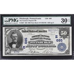 Pittsburgh, Pennsylvania. 1902 $50 Date Back. Fr. 667. Farmers Deposit NB. Charter 685. PMG Very Fin