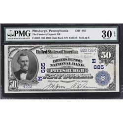 Pittsburgh, Pennsylvania. 1902 $50 Date Back. Fr. 667. Farmers Deposit NB. Charter 685. PMG Very Fin