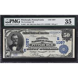 Pittsburgh, Pennsylvania. 1902 $50 Date Back. Fr. 667. Exchange NB. Charter 1057. PMG Choice Very Fi