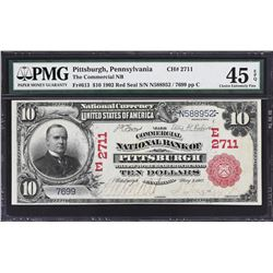 Pittsburgh, Pennsylvania. 1902 $10 Red Seal. Fr. 613. Commercial NB. Charter 2711. PMG Choice Extrem