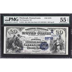 Pittsburgh, Pennsylvania. 1882 $20 Date Back. Fr. 552. Duquesne NB. Charter 2278. PMG About Uncircul