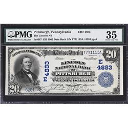 Pittsburgh, Pennsylvania. 1902 $20 Date Back. Fr. 647. Lincoln NB. Charter 4883. PMG Choice Very Fin