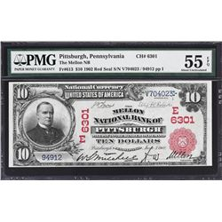 Pittsburgh, Pennsylvania. 1902 $10 Red Seal. Fr. 613. Mellon NB. Charter 6301. PMG About Uncirculate