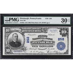 Lot of (3) Pittsburgh, Pennsylvania. 1902 Plain Back National Banknotes. PMG Graded.