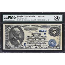 Reading, Pennsylvania. 1882 $5 Value Back. Fr. 574. Second NB. Charter 2552. PMG Very Fine 30.