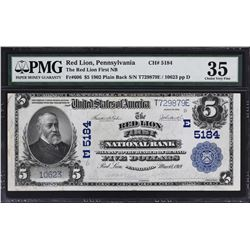 Red Lion, Pennsylvania. 1902 $5 Plain Back. Fr. 606. Red Lion NB. Charter 5184. PMG Choice Very Fine