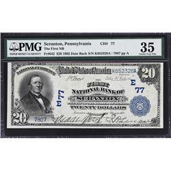 Scranton, Pennsylvania. 1902 $20 Plain Back. Fr. 642. FNB. Charter 77. PMG Choice Very Fine 35.