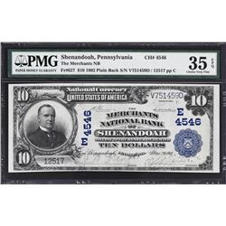 Shenandoah, Pennsylvania. 1902 $10 Plain Back. Fr. 627. Merchants NB. Charter 4546. PMG Choice Very