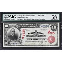 Springdale, Pennsylvania. 1902 $10 Red Seal. Fr. 615. Springdale NB. Charter 8320. PMG Choice About
