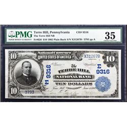Terre Hill, Pennsylvania. 1902 $10 Plain Back. Fr. 626. Terre Hill NB. Charter 9316. PMG Choice Very