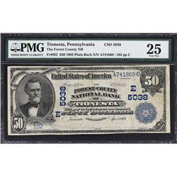 Tionesta, Pennsylvania. 1902 $50 Plain Back. Fr. 682. Forest County NB. Charter 5038. PMG Very Fine