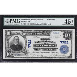 Trevorton, Pennsylvania. 1902 $10 Plain Back. Fr. 624. FNB. Charter 7722. PMG Choice Extremely Fine