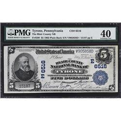 Tyrone, Pennsylvania. 1902 $5 Plain Back. Fr. 598. Blair County NB. Charter 6516. PMG Choice Uncircu
