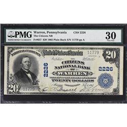 Warren, Pennsylvania. 1902 $20 Plain Back. Fr. 657. Citizens NB. Charter 2226. PMG Very Fine 30.