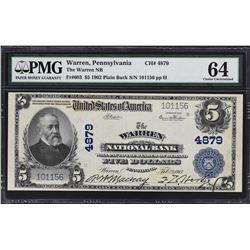 Warren, Pennsylvania. 1902 $5 Plain Back. Fr. 603. Warren NB. Charter 4879. PMG Choice Uncirculated