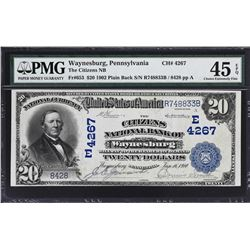 Waynesburg, Pennsylvania. 1902 $20 Plain Back. Fr. 653. Citizens NB. Charter 4267. PMG Choice Extrem