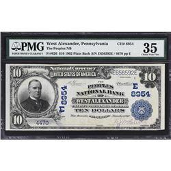 West Alexander, Pennsylvania. 1902 $10 Plain Back. Fr. 626. Peoples NB. Charter 8954. PMG Choice Ver