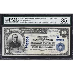 West Alexander, Pennsylvania. 1902 $10 Plain Back. Fr. 626. Peoples NB. Charter 8954. PMG Choice Ver