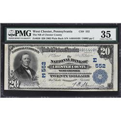 West Chester, Pennsylvania. 1902 $20 Plain Back. Fr. 650. NB of Chester County. Charter 552. PMG Cho