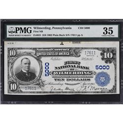 Wilmerding, Pennsylvania. 1902 $10 Plain Back. Fr. 631. FNB. Charter 5000. PMG Choice Very Fine 35.