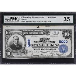 Wilmerding, Pennsylvania. 1902 $10 Plain Back. Fr. 631. FNB. Charter 5000. PMG Choice Very Fine 35.