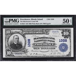 Providence, Rhode Island. 1902 $10 Plain Back. Fr. 624. Blackstone Canal NB. Charter 1328. PMG About
