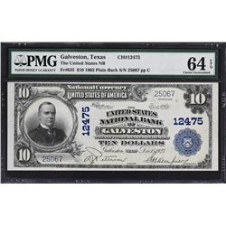 Galveston, Texas. 1902 $10 Plain Back. Fr. 635. United States NB. Charter 12475. PMG Choice Uncircul