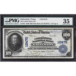 Galveston, Texas. 1902 $100 Plain Back. Fr. 707. United States NB. Charter 12475. PMG Choice Very Fi