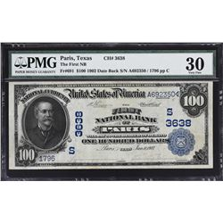 Paris, Texas. 1902 $100 Date Back. Fr. 961. FNB. Charter 3638. PMG Very Fine 30.