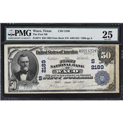 Waco, Texas. 1902 $50 Date Back. Fr. 674. FNB. Charter 2189. PMG Very Fine 25.