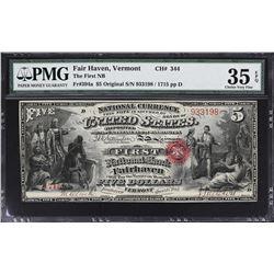 Fairhaven, Vermont. 1865 $5 Original. Fr. 394a. FNB. Charter 344. PMG Choice Very Fine 35 EPQ.