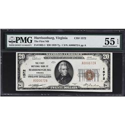 Harrisonburg, Virginia. 1929 $20 Ty. 1. FNB. Charter 1572. PMG About Uncirculated 55 EPQ.