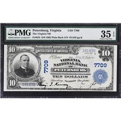Petersburg, Virginia. 1902 $10 Plain Back. Fr. 624. Virginia NB. Charter 7709. PMG Choice Very Fine