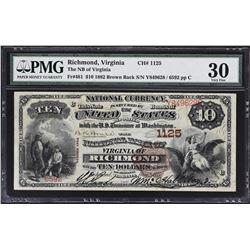 Richmond, Virginia. 1882 $10 Brown Back. Fr. 481. NB of Virginia. Charter 1125. PMG Very Fine 30.