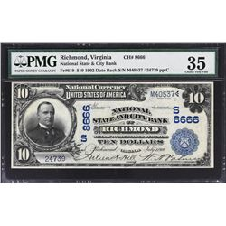 Richmond, Virginia. 1902 $10 Date Back. Fr. 619. National State and City Bank. Charter 8666. PMG Cho